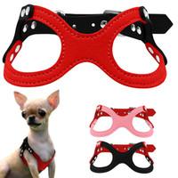 arnés del perro de cuero negro al por mayor-Arnés para perros pequeños de cuero de ante suave para cachorros Chihuahua Yorkie Rojo Rosa Negro Ajustable Cofre 10-13