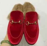 Women Luxury Brand Velvet Slippers Outono Inverno Real Fur Flat Shoes Designer Europeu Hot Sale Loafers Frete Grátis M22