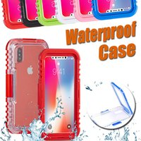 Wholesale Heavy Duty Straps - Waterproof Cases Heavy Duty Hybrid Transparent Front Back Protection Strap Swimming Diving Underwater Cover Case For iPhone X 8 7 Plus 6 6S