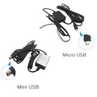 Wholesale-Safety Micro / MIni USB Power CableInput 12V - 24V Chargeur de voiture pour appareil photo Enregistreur DVR Exclusive Power Supply Box