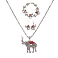 New Arrival Necklace Earrings Bracelet 3PCS SETS Mulheres Elefante Pingente Turquesa Design Charm Necklaces Antic Prata Prata Jóias Presentes