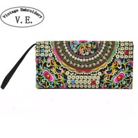 Wholesale Yellow Flower Purse - Wholesale- Vintage Embroidery Women Wallet Purse Handmade Ethnic Flowers Embroidered Woman Long Wallet Day Clutch Small Handbag