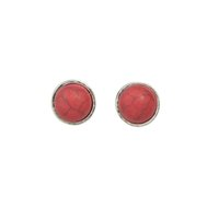 Wholesale Stone Stud Set - 6 pair set Vintage Style Boho Earrings Antique Silver Color with Red Blue Stone Geometric Round Flower Stud Earrings