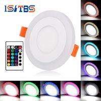Wholesale Super Led 6w - RGB Led Panel Lights 6W 9W 18W 24W CREE Led Recessed Downlights RGB Super-Thin Round 85~265V+remote control