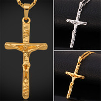 Wholesale Crystal Link Chain Necklace - U7 Cross Pendant New Fashion Jewelry Gift 18K Real Gold Platinum Plated Jesus Piece Crucifix Pendant Necklace Women  Men Jewelry Accessories