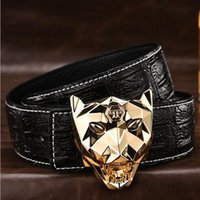 Wholesale Leopard Head Belt - Fashion Popular PP Belts Brand 6 Colors Belts High Quality Belt Real Leather Alloy Manual Big Buckle Belt Leopard Head Buckle Men