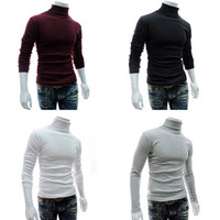 Wholesale Turtle Neck Pullover Slim Fit - Wholesale- Men's Fashion Knitted Roll Turtle Neck Pullover Long Sleeve Slim Fit Sweater Top
