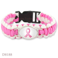 Wholesale Wholesale Pink Leather Charm Bracelet - (10 PCS lot)Pink Breast Cancer Fighter Hope Ribbon Awareness Paracord Bracelets Blue Yellow Black Outdoor Camping