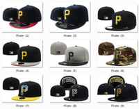Wholesale Black Hat Base - Hot Collection Pittsburgh Fitted Cap Embroidered P Letter Black Baseball Cap Casual Style Sport Pirate Fit hats for Sale Cool Base