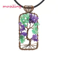 Wholesale vintage red stone pendant - musiling Jewelry Life Tree Pendant Natural Stone Crystal Vintage Copper Plated Fashion Clothing Accessories Charms Women Mens Jewelry