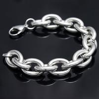 silberfarbene armbänder großhandel-Hohe Qualität Silber Ton 316L Edelstahl Mode HEAVY Riesige 15mm Oval Gliederkette Armband Herren Schmuck Armreif 8 '' - 9,5 Zoll