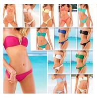 amerika sexy bikini großhandel-Heißer Verkauf Europa und Amerika sexy bikini mit einer brust pad ohne stahlstütze badeanzug badeanzug 12 farben