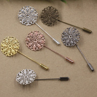 Wholesale Asian Filigree - 50MM 25mm Silver Rose gold Antique bronze metal filigree flower lapel pin for men suits, fashion floral badge long brooch stick pin jewelry