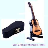Wholesale Musical Folk Instruments - 1 12 scale Acoustic Musical Instrument Dollhouse Miniature Furniture Music room Mini Folk Guitar Music Figure toy with Case Support