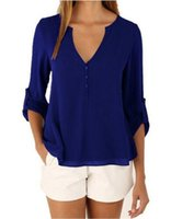 блузки длинные спины оптовых-V-образный вырез спереди короткая спина длинная шифоновая футболка 9 цветов 2017 Летние женские блузки топы футболки плюс размер LM-178