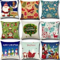 18 Stili Hot New Cushion Covers Bambini Cartoon Albero di Natale Alce Babbo Natale Federe Cuscini Divano 45X45 cm Buon Natale Decorazioni per la casa