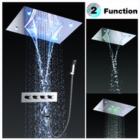 Placa de teto quadrada Fixed Rainfall Shower Head com 3 Way Thermostat Bathroom Shower Faucet Chrome e Handheld Shower Set