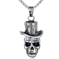 Wholesale Precision Planting - Man necklace Swiss precision steel Skull pendant 18K gold filled necklace Seiko quality Never change color free