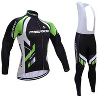 Wholesale Merida Winter Bib Pants - Ropa Ciclismo hombre invierno 2017 MERIDA long sleeve Winter thermal fleece cycle jersey kit super warm bicycle clothes bib pants set