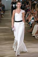 Wholesale Monique Lhuillier Black - white one shoulder jumpsuit formal evening dresses 2017 Monique Lhuillier run away sweetheart neckline evening party gowns