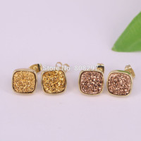 Wholesale Square Stud Charm - Charm 5Pairs Square Natural Titanium Druzy Stud Earrings, Gold color Gems Stone Post Earring