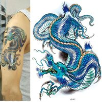 Wholesale tattoos designs sketches - 3D Large Big Tattoo Sticker Sketch Blue Chinese Dragon Painting Designs Cool Temporary Tattoo Stickers free ship