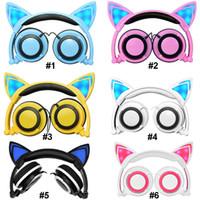 iphone kedi kulakları toptan satış-Toptan Katlanabilir Yanıp Sönen Parlayan Kedi Kulak Kulaklıklar Oyun Kulaklıklar Sevimli Stereo Kulaklık ile Telefon için LED Işık Kulaklık Dizüstü PC