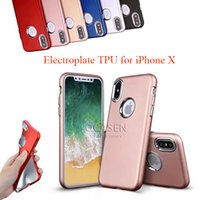Wholesale Iphone Button Protective - For iPhone X 8 7 6 Plus Soft TPU Case Electroplating Button ABS Protective Cell Phone Shockproof Case Back Cover For Samsung Moto