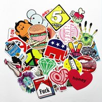 Wholesale Water Sticker Black - Car Stickers mixed 50 design Graffiti Decal cover anti scratch UV water for body Light brow front back door bumper window etc