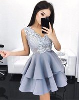 Wholesale Vintage Lake - 2018 Short Lake Blue Homecoming Dresses for Juniors Lace V-neck Satin Tiered Cocktail Party Gowns Mini Sweet 16 Graduation Prom Dress BA6590