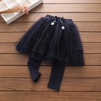Wholesale Veil Leggings - Kids Girls Wave Point Pantskirt Comfortable Net veil Leggings TUTU Spring Fashion Black Kids Pants Pantskirts Free shipping G010