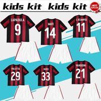 Wholesale Shirt Boy Yellow - AC Milan soccer Jersey Kids Kit 17 18 AC Milan home red black boy Soccer Jerseys 2018 MONTOLIVO Child Soccer Shirts uniform jersey+shorts