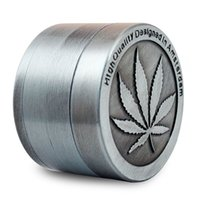 Wholesale Leaf Catcher - Classic Amsterdam Grinder with leaf for Spice Herb plant 50mm, 40 mm Pollen Catcher 4 Pieces grey