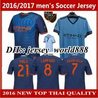 Wholesale Soccer Jerseys Pirlo - Top Thai quality 17 18 New York Home blue Soccer Jersey 2017 2018 city away DAVID VILLA LAMPARD PIRLO Football Shirt