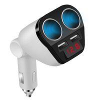 Wholesale voltage adapters converters online - 12V V Universal Car USB Car cigarette lighter adapter socket converter V A car voltage diagnostic display