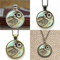 Wholesale Owl Pendant Necklace Glass - 10pcs Owl Jewelry Woodland Pendant glass Necklace keyring bookmark cufflink earring bracelet