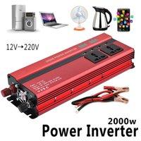 Wholesale Inversor 12v - 2000W Car LED Inverter 12v 220v Converter DC 12 v to 220v 4 USB Ports Charger Veicular Car Power Inverter Dual Display Inversor
