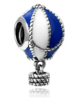 Wholesale Snake Balloons - Fits Pandora Sterling Silver Blue & White Hot Air Balloon Dangle Beads Charms For Diy European Style Snake Charm Chain Fashion DIY Jewelry