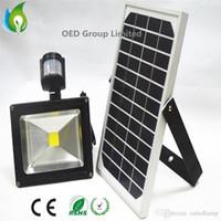 Wholesale Solar Power Led Flood - 30W Rechargeable Solar Lamps Solar Powered LED Flood Light with PIR Sensor Outdoor Lighting IP65 Lawn Lights OED-Solar-PIR-30W