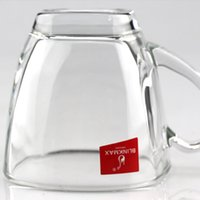Wholesale Household Items Gifts - Glass Coffee Cup Handle Transparent High White Glass Party Celebration Festival Household Items Bouble Wall Glass190ML 185g