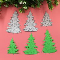 Wholesale Diy Paper Christmas Tree - 3PCS Christmas Trees DIY Metal Cutting Dies Stencil Scrapbook Card Album Paper Embossing Craft