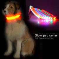 Wholesale Light Optical Fiber - Dog Collars USB Luminous Pet Collar Optical Fiber USB Charging Dog Collar Teddy Flash Collar Pet Supplies 0704052
