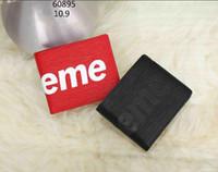 Wholesale Pvc Price Holder - Factory Price Brand Letter Supremes stripe Mini Coin Purse Clutch Epi cowhide leather Men Woman's Supr Wallet
