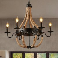 Wholesale Rope Light Chandelier - Retro Rope Pendant Light RH LOFT Lamp Industrial Iron Nordic Dining Room Bedside Bar Vintage Luminaire Pendant Lamp Wrought Iron Chandeliers