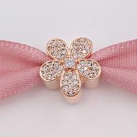 nouveaux bijoux éblouissants achat en gros de-Nouveau 925 Sterling Silver Perles Rose Plaqué Or Dazzling Daisy Charme Convient Européen Pandora Style Bijoux Bracelets 781480CZ Rose Plaqué Or