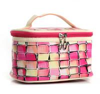 Wholesale Stylish Cosmetic Bags - Stylish colorful plaid patchwork cosmetic bags online PU wash bag handbag makeup bag for girls ladies