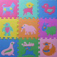 Wholesale Animals Floor Puzzle - Wholesale- Starz 10Pcs set Children's Soft Developing Crawling Rugs Puzzle Animals EVA Foam Play Mat Pad Floor for Baby Games
