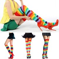 Wholesale Rainbow Stock - Wholesale- Fine Lady Girl Colorful Polyester Over Knee Thigh High Long Stocking Rainbow