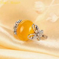 Wholesale 14k White Gold Ring Mount - Fine Silver 925 Sterling Silver Plated White Gold Crystal 8X11mm or 10x12mm Oval Cabochon Opal Agate Amber Semi Mount Wedding Ring Butterfly