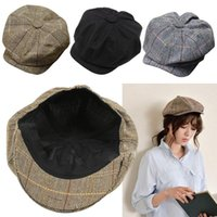 Wholesale Driving Beret - Men Women Newsboy Driving Flat Gatsby Tweed Sun Hat Country Beret Baker Cap painter caps octagonal 2016 fashion new B1